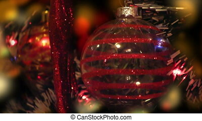 Detail of decorated Christmas tree at night, colorful...