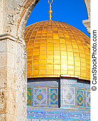 Detail of Dome of the Rock Mosque on Temple Mount in Jerusalem Israel