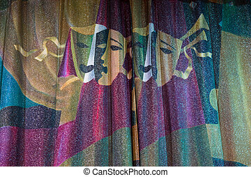 Detail of Drama Masks Embossed on Theater Curtains - Close...