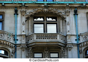 detail of elaborate mansion in downtown boston