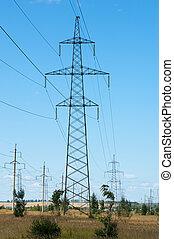 Detail of electricity pylon against blue sky