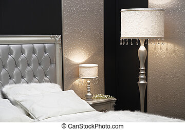 Detail of elegant bedroom nightstand