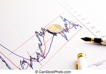 financial spread btp bund chart - detail of euro coin on ...