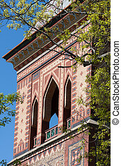 Detail of exterior brick of Olana, the historic home of Frederich Church along the Hudson River.