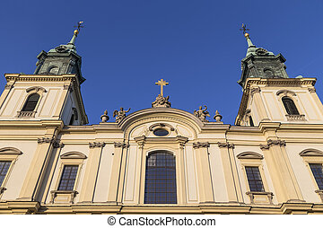 Detail of facade of the Basilica of the Holy Cross