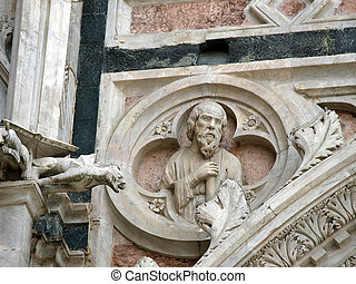 Detail of facde Baptistery in Siena, Tuscany