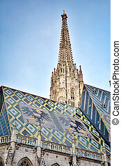 Detail of famous St. Stephen's Cathedral at Stephansplatz in Vienna, Austria