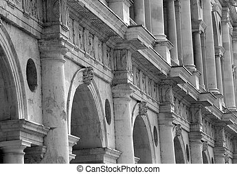 detail of fantastic white palladian basilica in italy -...