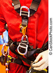 detail of fire fighting equipment - close up of new fire...