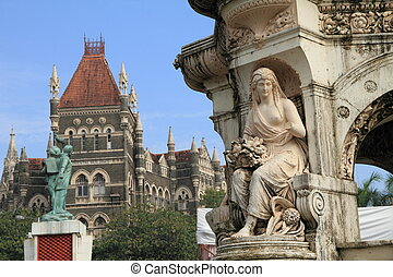 detail of Flora Fountain and Hutatma Chowk memorial and Oriental Buildings, Bombay ( Mumbai), India
