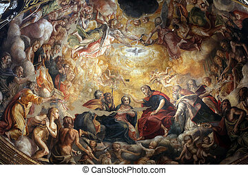 Detail of fresco in the dome above the the altar at the ...