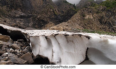 Detail of glaciers in the french mountains with black cavity bellow, Aravis pass, France, The Alps, Panorama