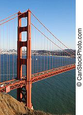Detail of Golden Gate Bridge in San Francisco California on...