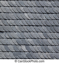 detail of grey slate roofing