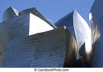 Detail of Guggenheim Museum, Spain - Detail of the facade of...