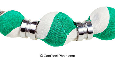 green and white silk bead close up isolated