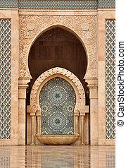 Detail of Hassan II Mosque in Casablanca, Morocco