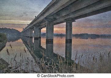 highway bridge at sunrise