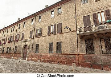 Detail of historical building in Ferrara