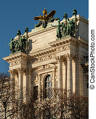 Detail of Hofburg in Vienna on a sunny day in winter