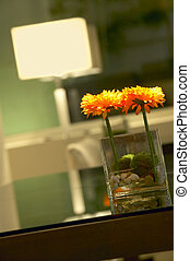 Detail of home decoration orange flowers