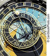detail of Horloge, Old Town Hall, Prague, Czech Republic