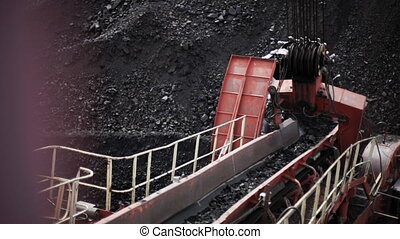 detail of huge coal excavator mining wheel (HD)