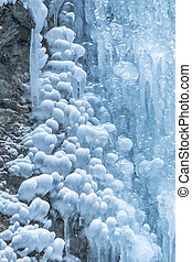 Detail of icefall in a winter landscape.