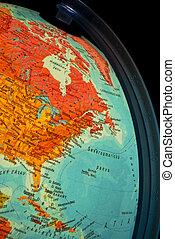 Detail of illuminated globe