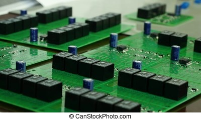Detail of integrated circuit board with chip. Integrated...
