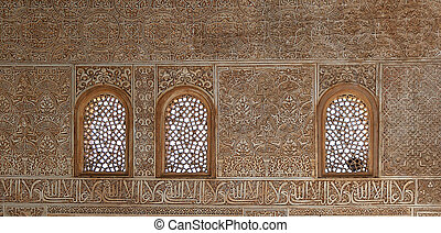 Detail of Islamic (Moorish) tilework at the Alhambra,...