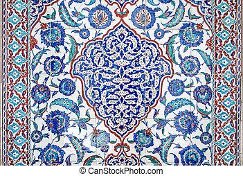 Detail of Isnik Tile pattern on tomb exterior, Istanbul