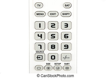 Detail of keypad on white background