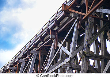 Kinsol Trestle wooden railroad bridge in Vancouver Island -...