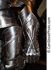Detail of knight's armor - Medieval warrior soldier metal...