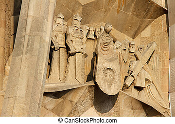 Detail of La Sagrada Familia in Barcelona