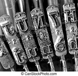 detail of levers of an old typewriter