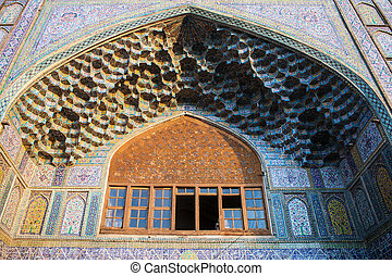 Detail of Madraseh-ye Khan in Shiraz, Iran.