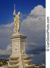 Statue of greek god Poseidon at Havana bay - Detail of...