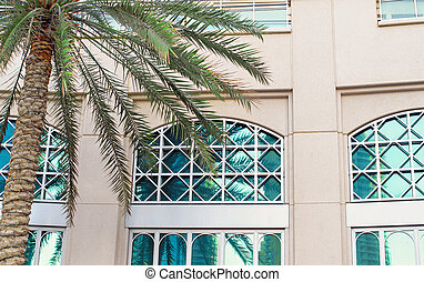 Detail of Mediterranean architecture, building made of lime stone in the afternoon light and palm trees