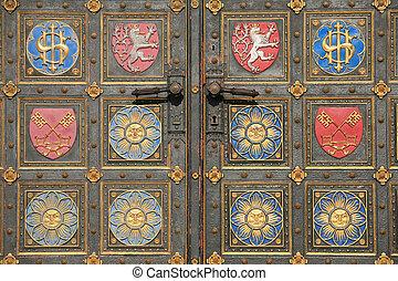 Detail of metal entrance door