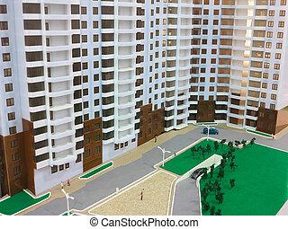 Detail of mockup beautiful modern apartment house
