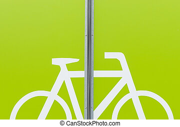 Detail of modern bicycle parking area