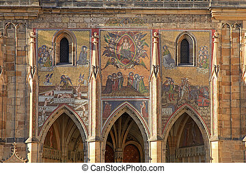 Detail of mosaic on Cathedral of St. Vitus, Prague - Detail...
