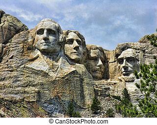 Mount Rushmore, South Dakota - Detail of Mount Rushmore,...