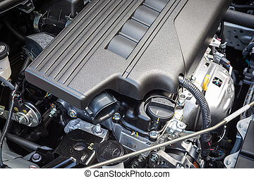 Detail of new car engine