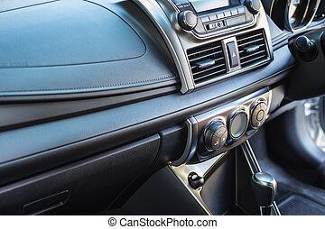 Detail of new modern car interior, Focus on door air-con...