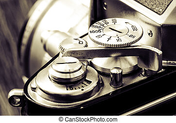 Detail of old classic camera in vintage style - Detail of ...