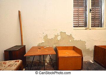 detail of old grunge abandoned bedroom