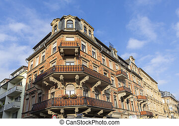 detail of old historic house facade in Wiesbaden